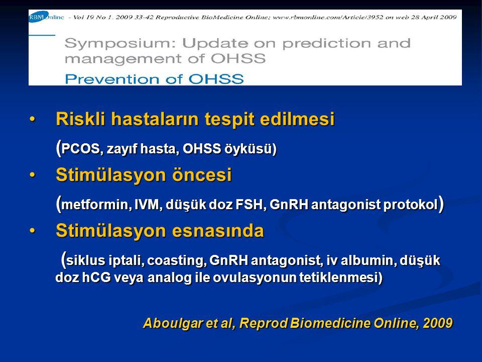 Riskli hastaların tespit edilmesiRiskli hastaların tespit edilmesi ( PCOS, zayıf hasta, OHSS öyküsü) Stimülasyon öncesiStimülasyon öncesi ( metformin,