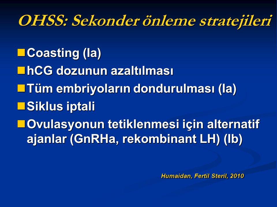 OHSS: Sekonder önleme stratejileri Coasting (Ia) Coasting (Ia) hCG dozunun azaltılması hCG dozunun azaltılması Tüm embriyoların dondurulması (Ia) Tüm