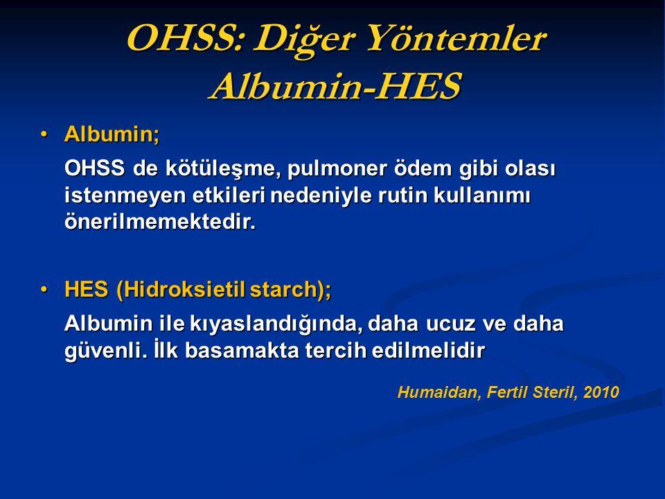 OHSS: Diğer Yöntemler Albumin-HES Albumin;Albumin; OHSS de kötüleşme, pulmoner ödem gibi olası istenmeyen etkileri nedeniyle rutin kullanımı önerilmem