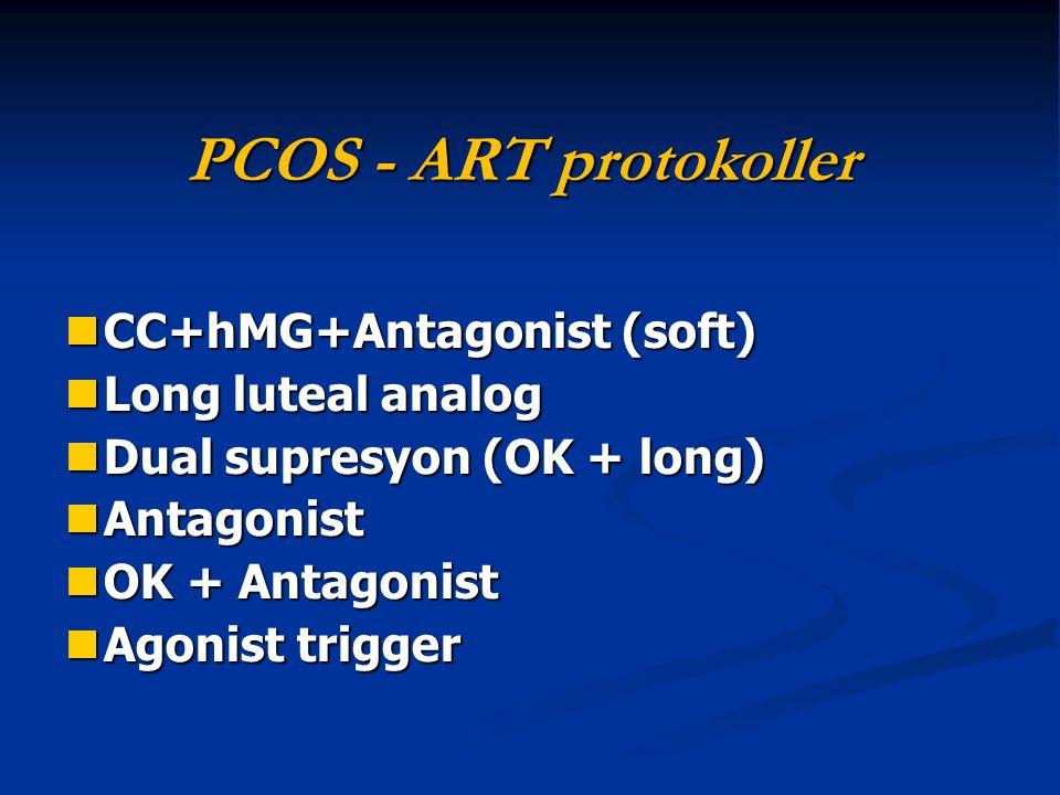 PCOS - ART protokoller CC+hMG+Antagonist (soft) CC+hMG+Antagonist (soft) Long luteal analog Long luteal analog Dual supresyon (OK + long) Dual supresy