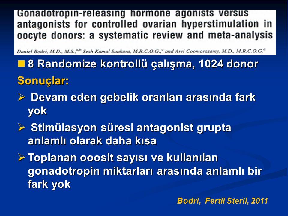 8 Randomize kontrollü çalışma, 1024 donor 8 Randomize kontrollü çalışma, 1024 donorSonuçlar:  Devam eden gebelik oranları arasında fark yok  Stimüla