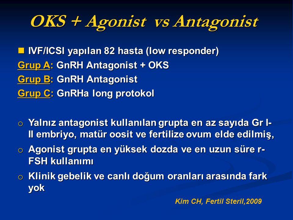 IVF/ICSI yapılan 82 hasta (low responder) IVF/ICSI yapılan 82 hasta (low responder) Grup A: GnRH Antagonist + OKS Grup B: GnRH Antagonist Grup C: GnRH
