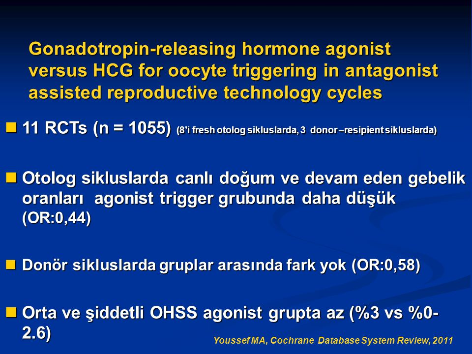 Gonadotropin-releasing hormone agonist versus HCG for oocyte triggering in antagonist assisted reproductive technology cycles 11 RCTs (n = 1055) (8'i