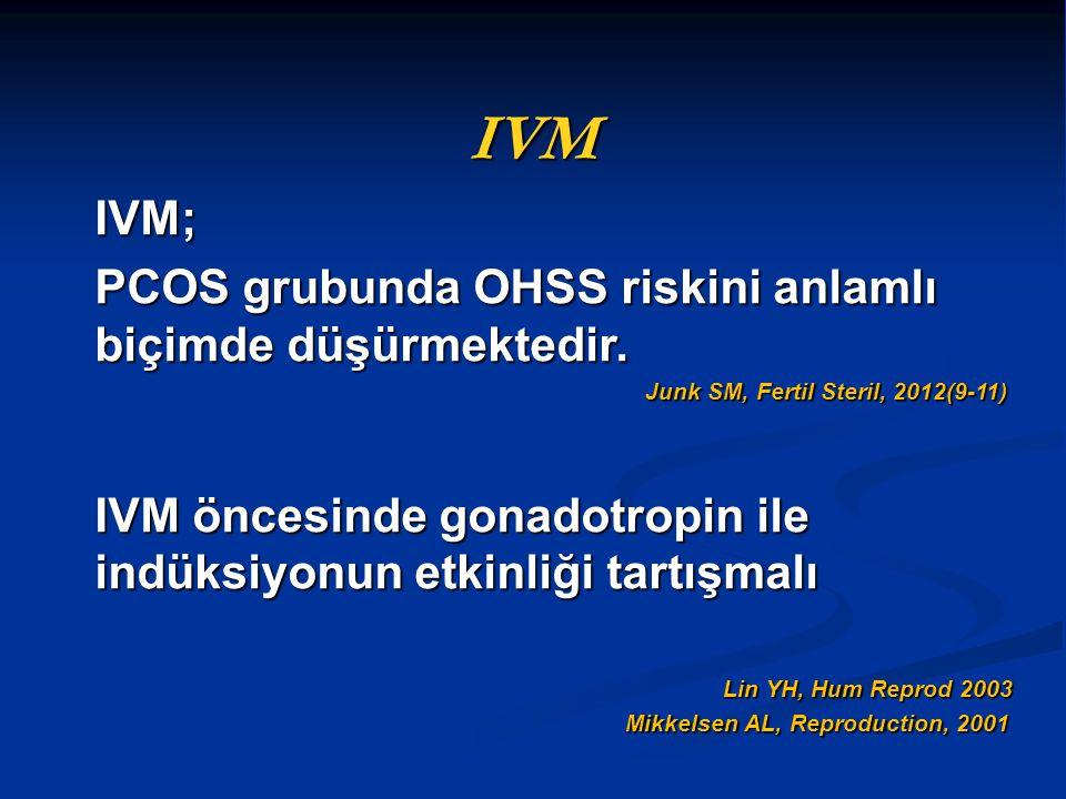 IVM IVM; PCOS grubunda OHSS riskini anlamlı biçimde düşürmektedir. Junk SM, Fertil Steril, 2012(9-11) Junk SM, Fertil Steril, 2012(9-11) IVM öncesinde