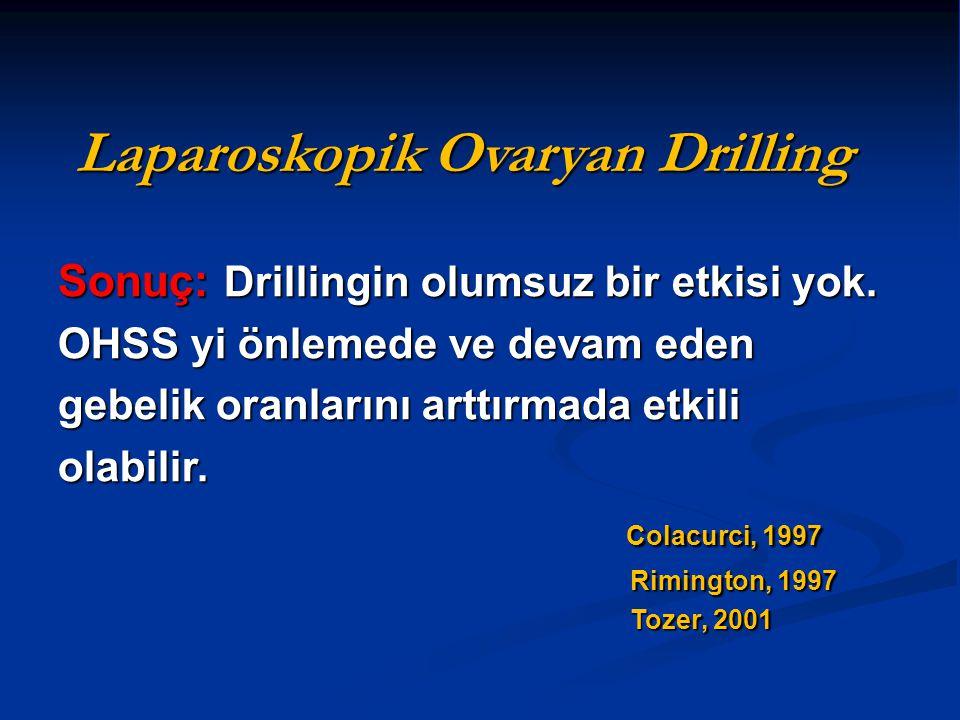 Sonuç: Drillingin olumsuz bir etkisi yok. OHSS yi önlemede ve devam eden gebelik oranlarını arttırmada etkili olabilir. Colacurci, 1997 Rimington, 199