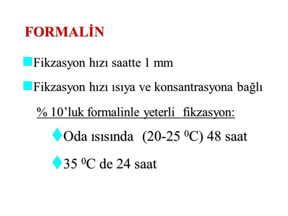 FORMALİN % 10'luk formalin % 10'luk formalin  1 hacim formalin  9 hacim distile su Asit nitelik kalsiyum veya magnezyum karbonat eklenerek nötralize