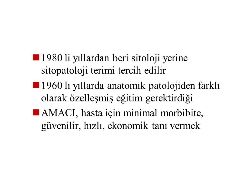SİTOPATOLOJİ Sitoloji; hücrenin normal görünüşü dışında ki sapmaları inceler İlk kez 1928 de ABD de Dr George Papanicalaou ve Romanya da Dr Aurel Babe