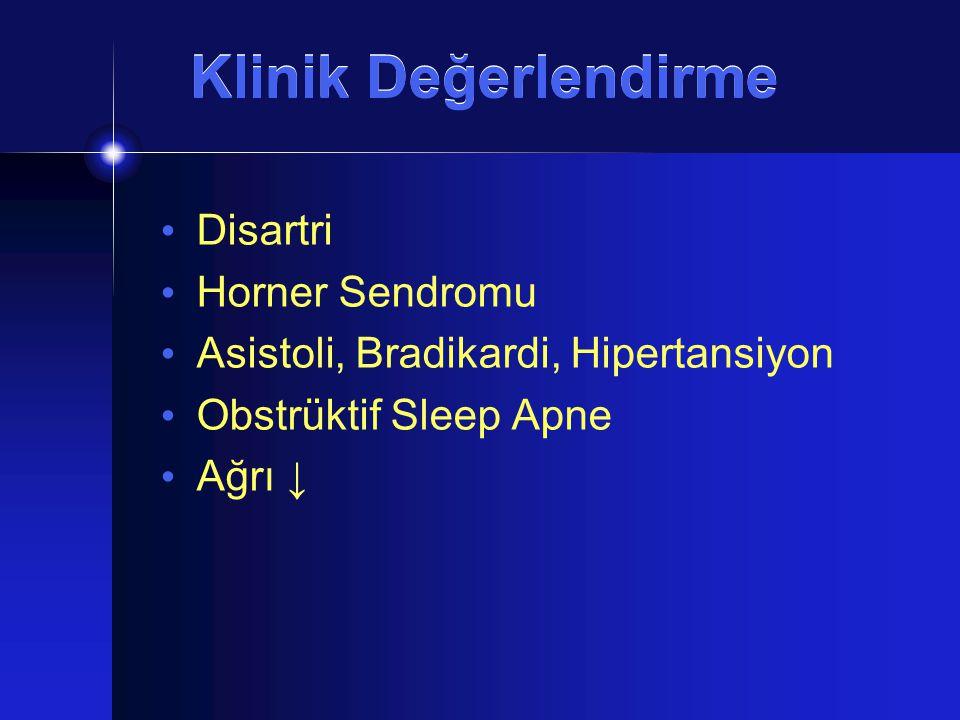 Klinik Değerlendirme Disartri Horner Sendromu Asistoli, Bradikardi, Hipertansiyon Obstrüktif Sleep Apne Ağrı ↓