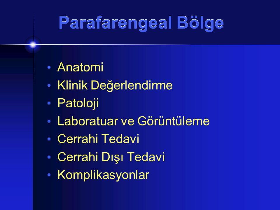 Patoloji Nörojenik Tümörler Paraganglioma İkinci en yaygın Kemoreseptör %10'u ekstradrenal  %3 baş boyunda Baş boyunda en sık karotis cisim tümörü  Jugulotimpanik ve vagal paraganglioma Benign