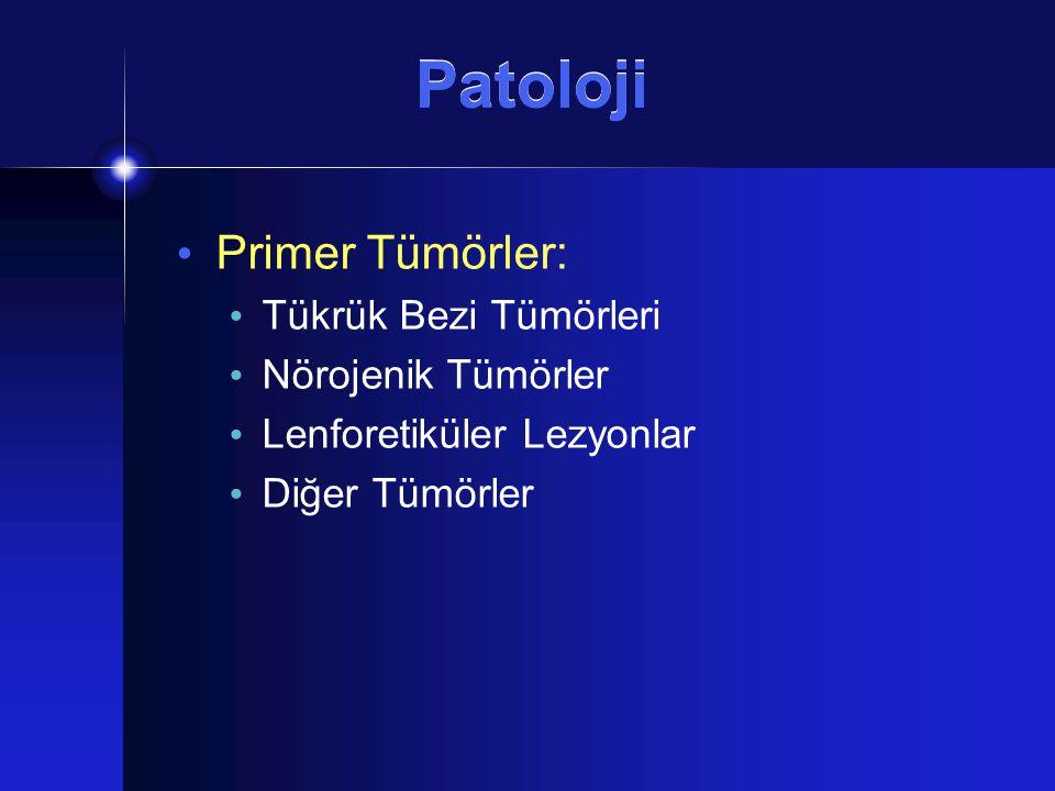Patoloji Primer Tümörler: Tükrük Bezi Tümörleri Nörojenik Tümörler Lenforetiküler Lezyonlar Diğer Tümörler