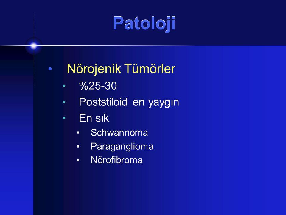 Patoloji Nörojenik Tümörler %25-30 Poststiloid en yaygın En sık Schwannoma Paraganglioma Nörofibroma