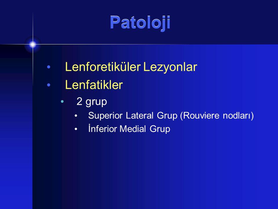 Patoloji Lenforetiküler Lezyonlar Lenfatikler 2 grup Superior Lateral Grup (Rouviere nodları) İnferior Medial Grup