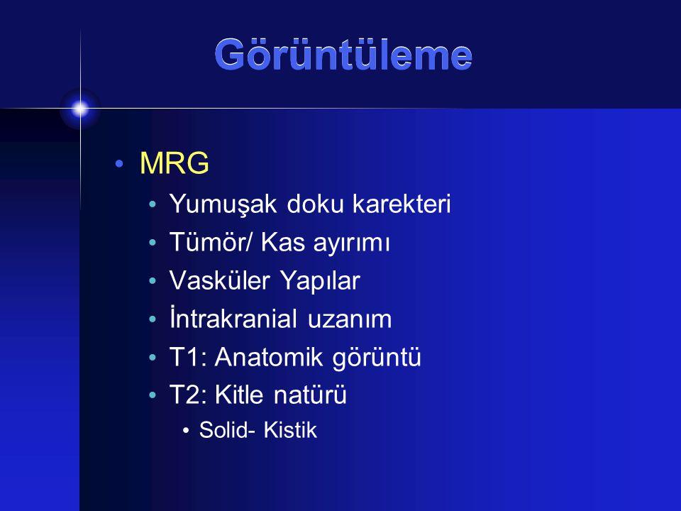 Görüntüleme MRG Yumuşak doku karekteri Tümör/ Kas ayırımı Vasküler Yapılar İntrakranial uzanım T1: Anatomik görüntü T2: Kitle natürü Solid- Kistik