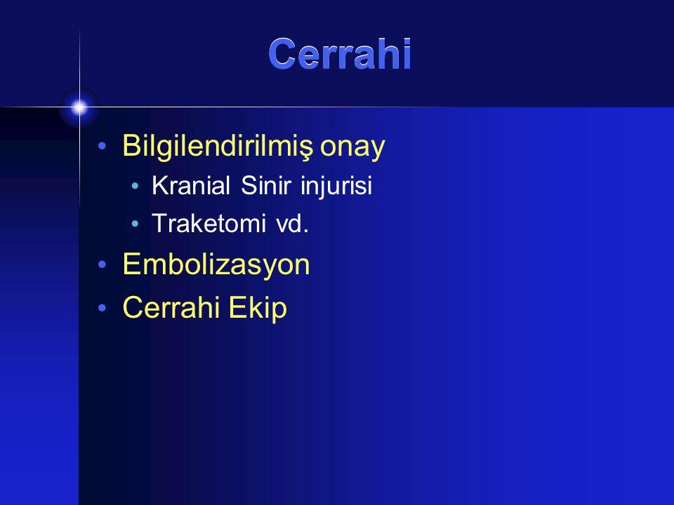 Cerrahi Bilgilendirilmiş onay Kranial Sinir injurisi Traketomi vd. Embolizasyon Cerrahi Ekip