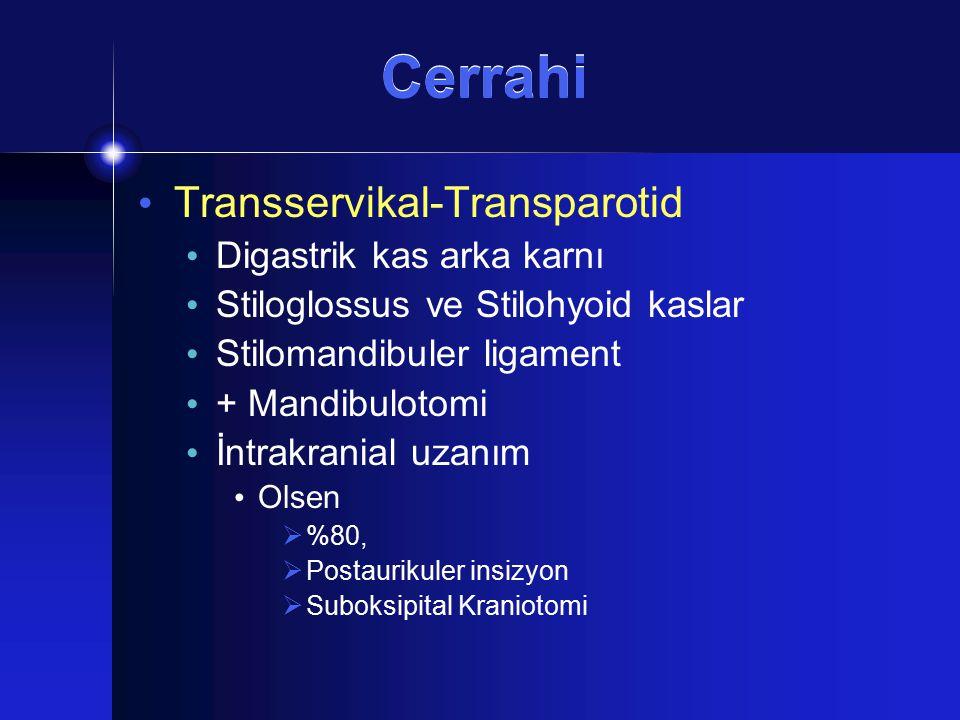 Cerrahi Transservikal-Transparotid Digastrik kas arka karnı Stiloglossus ve Stilohyoid kaslar Stilomandibuler ligament + Mandibulotomi İntrakranial uz