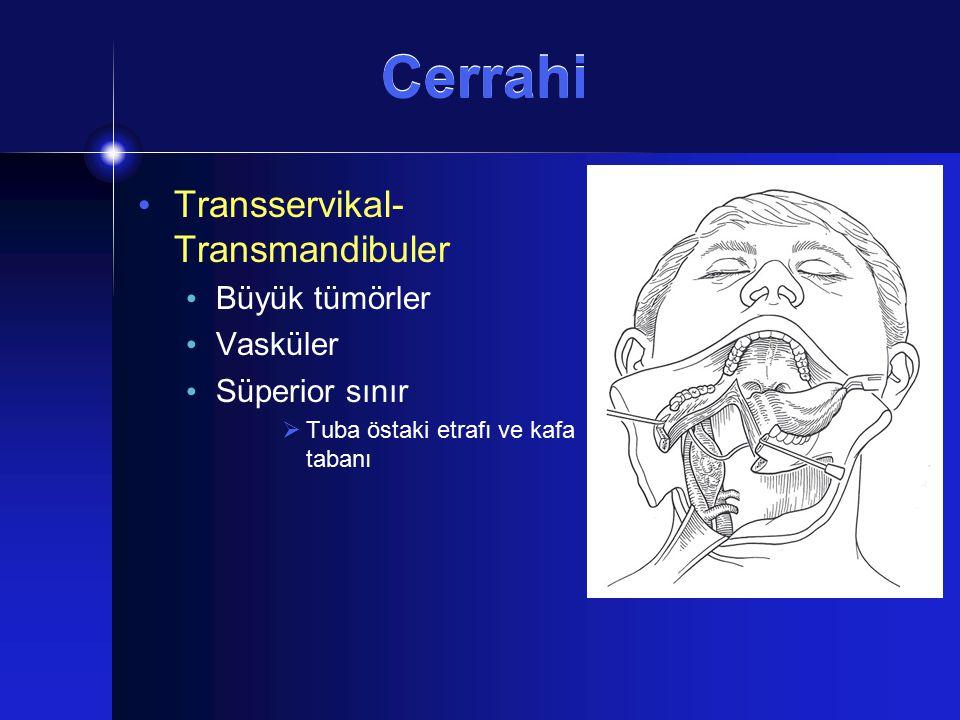 Cerrahi Transservikal- Transmandibuler Büyük tümörler Vasküler Süperior sınır  Tuba östaki etrafı ve kafa tabanı