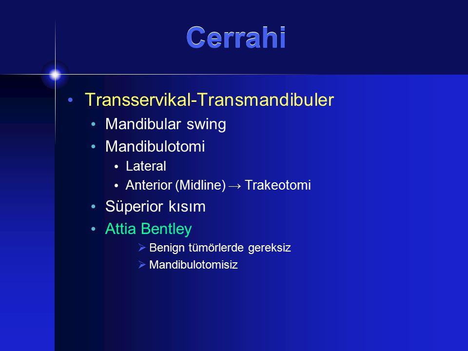 Cerrahi Transservikal-Transmandibuler Mandibular swing Mandibulotomi Lateral Anterior (Midline) → Trakeotomi Süperior kısım Attia Bentley  Benign tüm