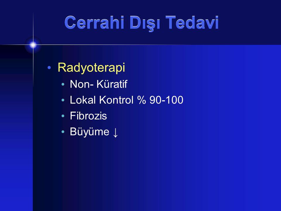 Cerrahi Dışı Tedavi Radyoterapi Non- Küratif Lokal Kontrol % 90-100 Fibrozis Büyüme ↓