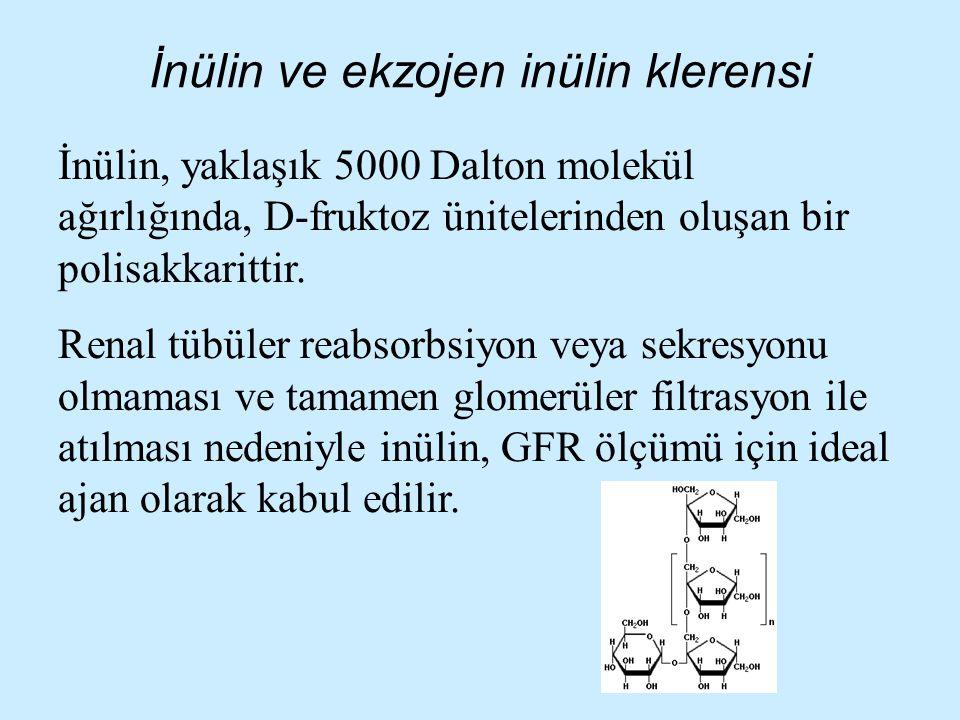 İnülin ve ekzojen inülin klerensi İnülin, yaklaşık 5000 Dalton molekül ağırlığında, D-fruktoz ünitelerinden oluşan bir polisakkarittir. Renal tübüler