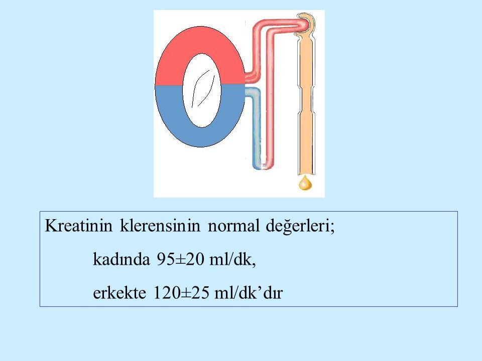 Kreatinin klerensinin normal değerleri; kadında 95±20 ml/dk, erkekte 120±25 ml/dk'dır