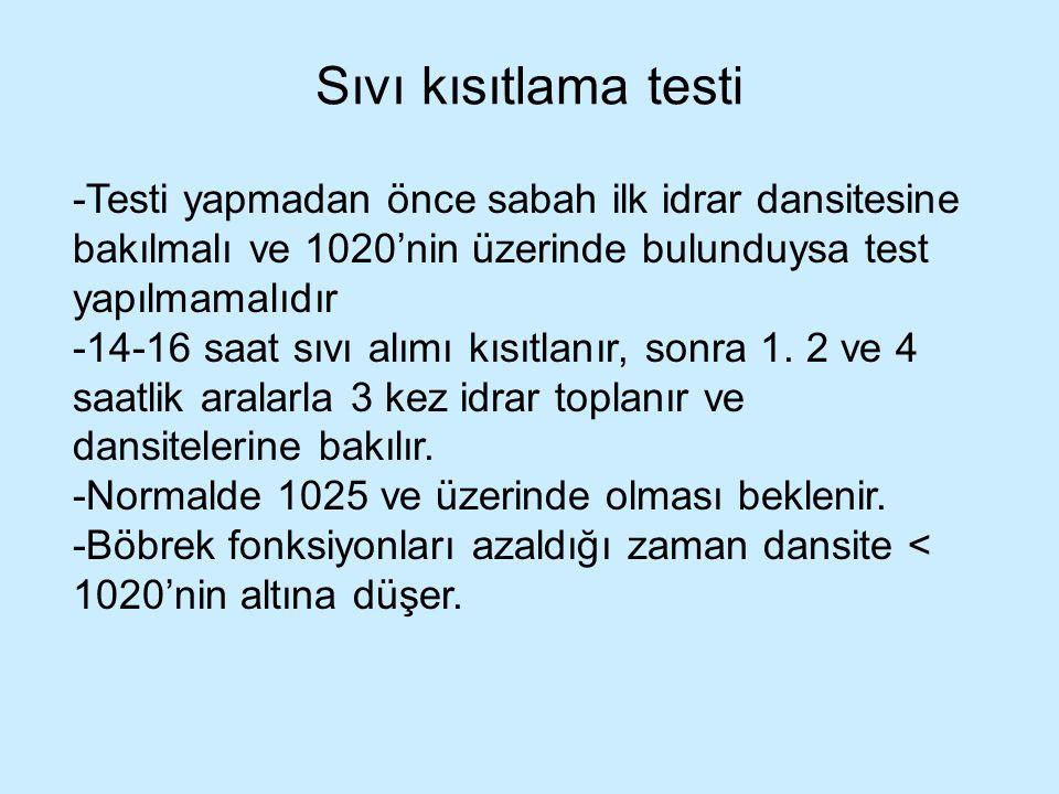 Sıvı kısıtlama testi -Testi yapmadan önce sabah ilk idrar dansitesine bakılmalı ve 1020'nin üzerinde bulunduysa test yapılmamalıdır -14-16 saat sıvı a