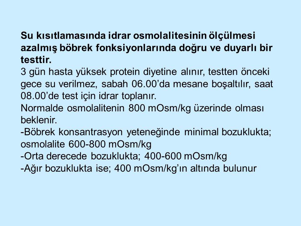 Su kısıtlamasında idrar osmolalitesinin ölçülmesi azalmış böbrek fonksiyonlarında doğru ve duyarlı bir testtir. 3 gün hasta yüksek protein diyetine al