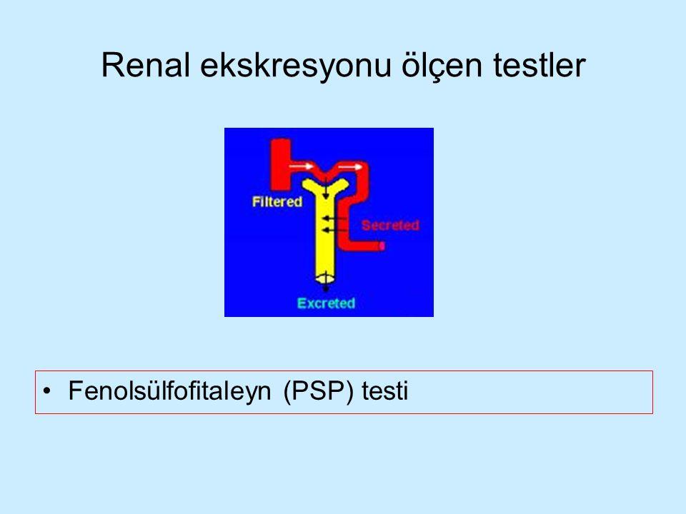 Renal ekskresyonu ölçen testler Fenolsülfofitaleyn (PSP) testi