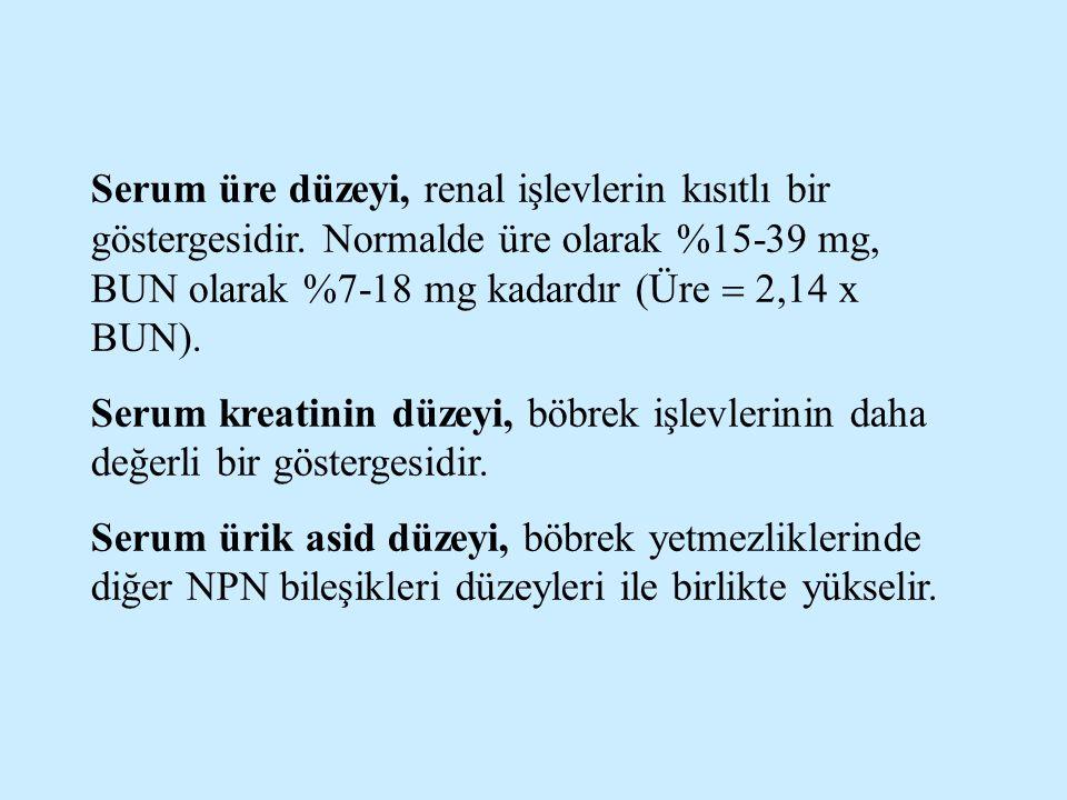 Serum üre düzeyi, renal işlevlerin kısıtlı bir göstergesidir. Normalde üre olarak %15-39 mg, BUN olarak %7-18 mg kadardır (Üre  2,14 x BUN). Serum kr