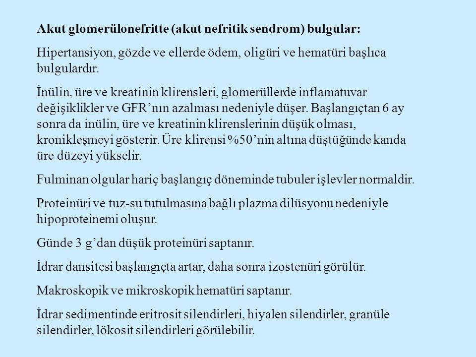 Akut glomerülonefritte (akut nefritik sendrom) bulgular: Hipertansiyon, gözde ve ellerde ödem, oligüri ve hematüri başlıca bulgulardır. İnülin, üre ve