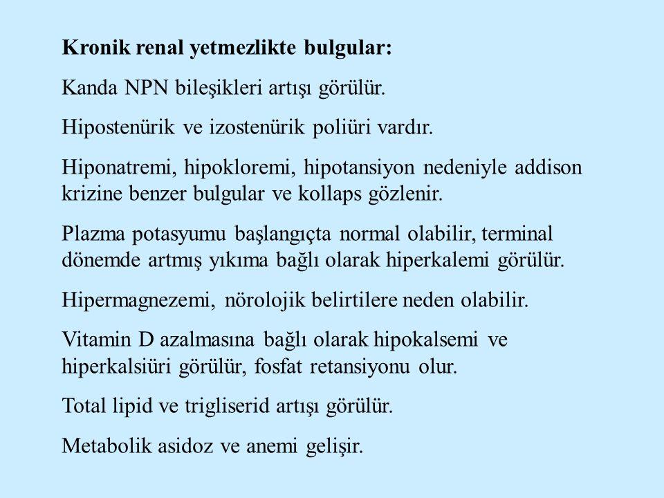 Kronik renal yetmezlikte bulgular: Kanda NPN bileşikleri artışı görülür. Hipostenürik ve izostenürik poliüri vardır. Hiponatremi, hipokloremi, hipotan