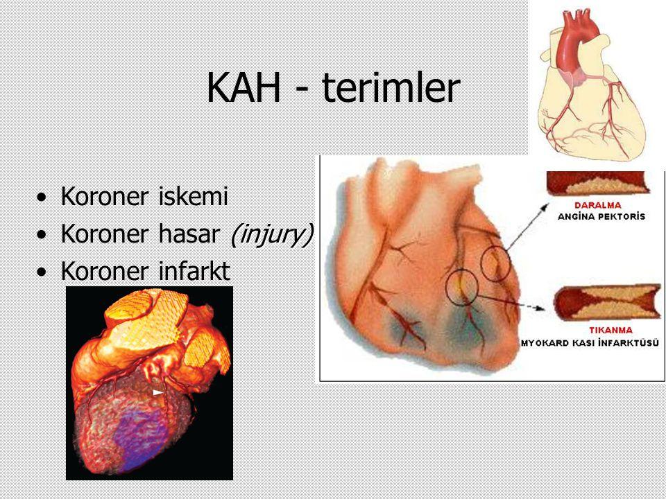 KAH - terimler Koroner iskemi (injury)Koroner hasar (injury) Koroner infarkt