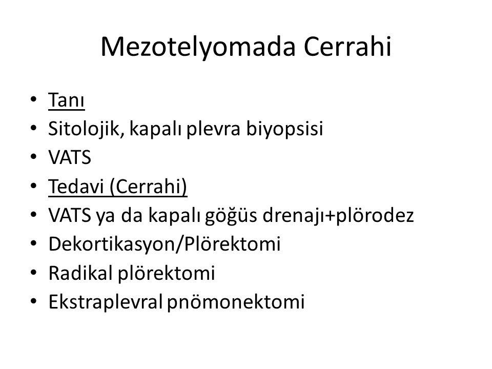 Mezotelyomada Cerrahi Tanı Sitolojik, kapalı plevra biyopsisi VATS Tedavi (Cerrahi) VATS ya da kapalı göğüs drenajı+plörodez Dekortikasyon/Plörektomi Radikal plörektomi Ekstraplevral pnömonektomi