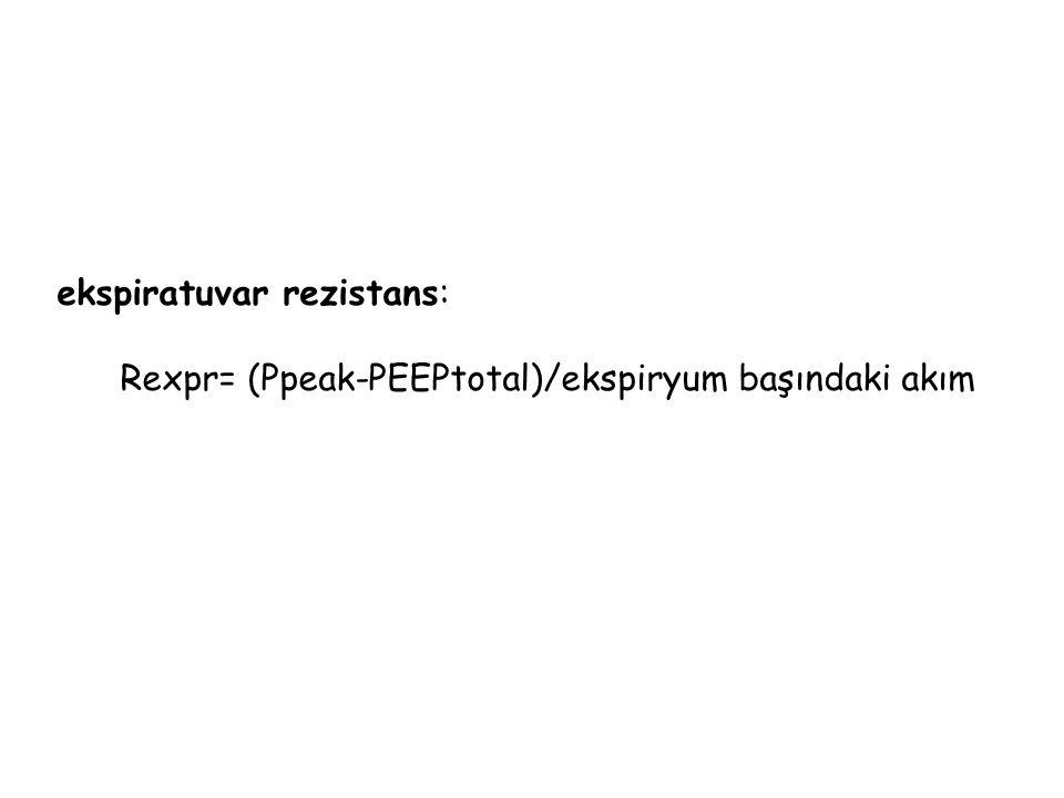 ekspiratuvar rezistans: Rexpr= (Ppeak-PEEPtotal)/ekspiryum başındaki akım