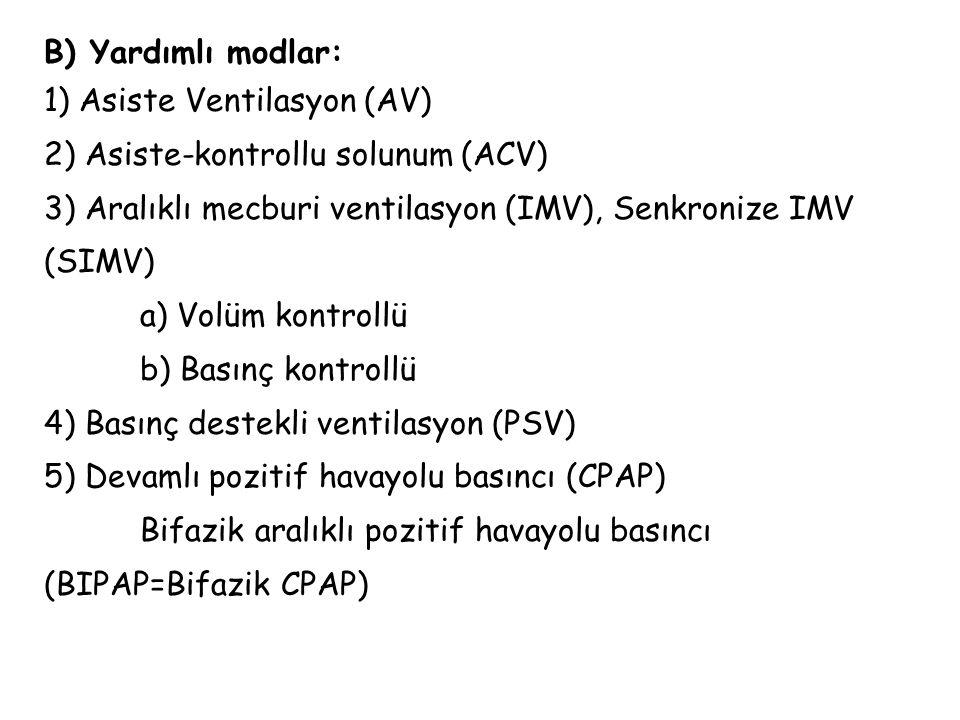 B) Yardımlı modlar: 1) Asiste Ventilasyon (AV) 2) Asiste-kontrollu solunum (ACV) 3) Aralıklı mecburi ventilasyon (IMV), Senkronize IMV (SIMV) a) Volüm