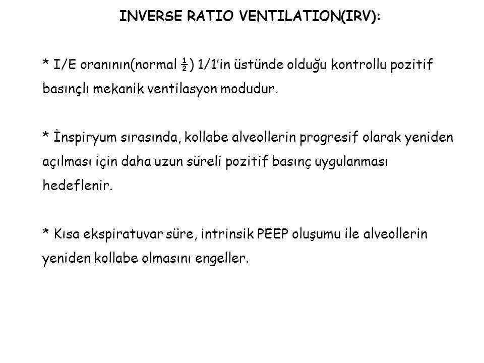 INVERSE RATIO VENTILATION(IRV): * I/E oranının(normal ½) 1/1'in üstünde olduğu kontrollu pozitif basınçlı mekanik ventilasyon modudur. * İnspiryum sır