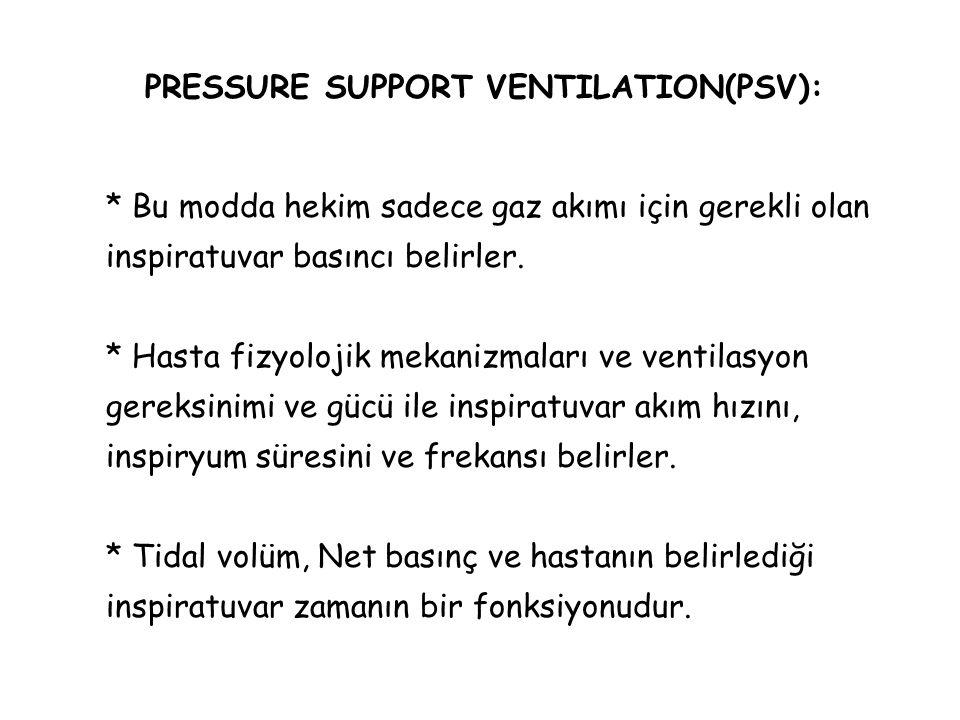 PRESSURE SUPPORT VENTILATION(PSV): * Bu modda hekim sadece gaz akımı için gerekli olan inspiratuvar basıncı belirler. * Hasta fizyolojik mekanizmaları