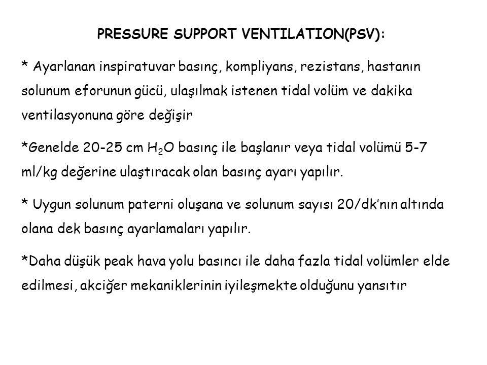 PRESSURE SUPPORT VENTILATION(PSV): * Ayarlanan inspiratuvar basınç, kompliyans, rezistans, hastanın solunum eforunun gücü, ulaşılmak istenen tidal vol