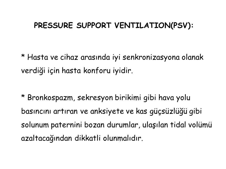 PRESSURE SUPPORT VENTILATION(PSV): * Hasta ve cihaz arasında iyi senkronizasyona olanak verdiği için hasta konforu iyidir. * Bronkospazm, sekresyon bi