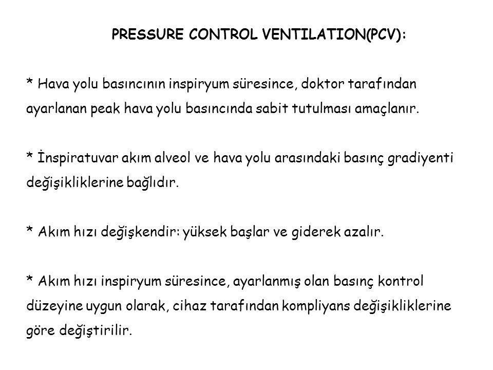 PRESSURE CONTROL VENTILATION(PCV): * Hava yolu basıncının inspiryum süresince, doktor tarafından ayarlanan peak hava yolu basıncında sabit tutulması a