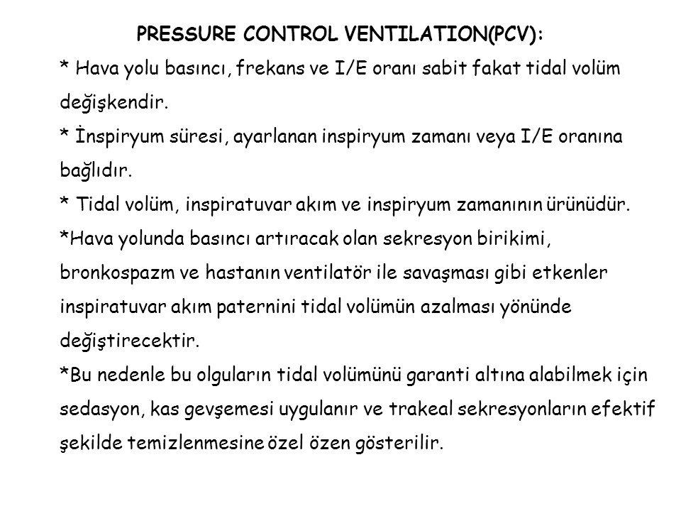 PRESSURE CONTROL VENTILATION(PCV): * Hava yolu basıncı, frekans ve I/E oranı sabit fakat tidal volüm değişkendir. * İnspiryum süresi, ayarlanan inspir
