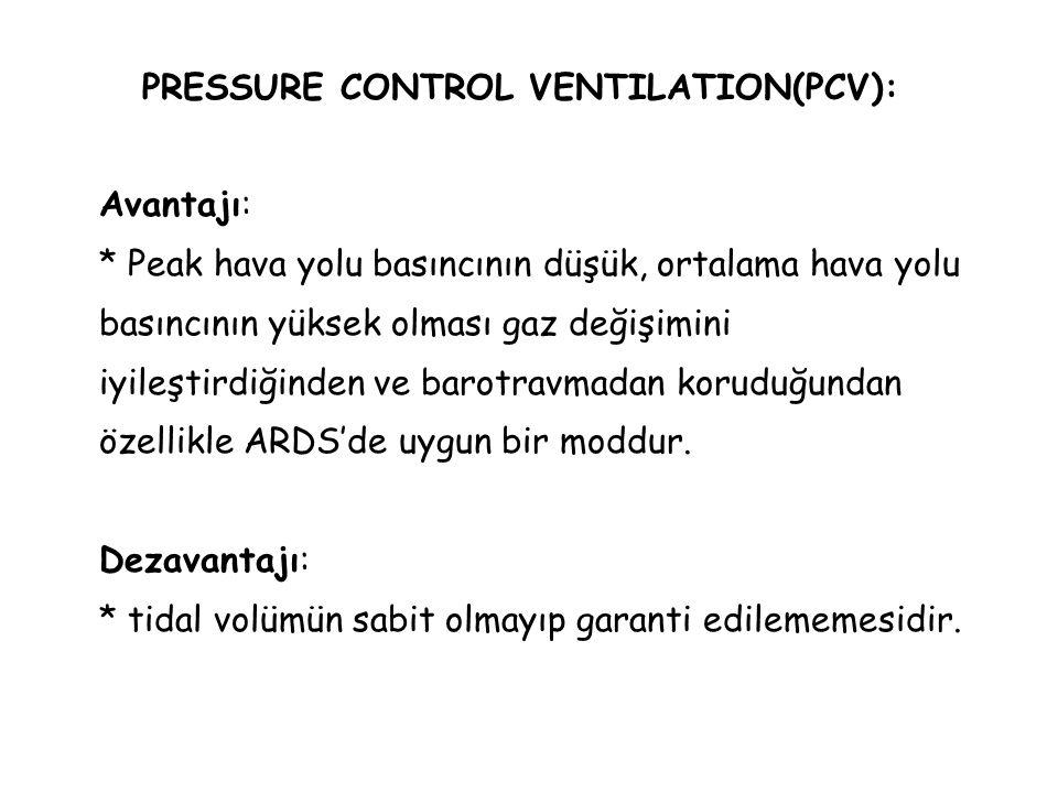 PRESSURE CONTROL VENTILATION(PCV): Avantajı: * Peak hava yolu basıncının düşük, ortalama hava yolu basıncının yüksek olması gaz değişimini iyileştirdi