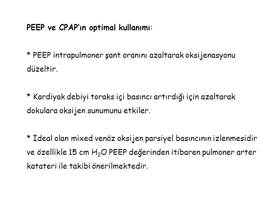PEEP ve CPAP'ın optimal kullanımı: * PEEP intrapulmoner şant oranını azaltarak oksijenasyonu düzeltir. * Kardiyak debiyi toraks içi basıncı artırdığı
