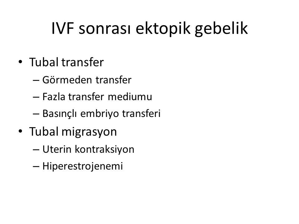 IVF sonrası ektopik gebelik Tubal transfer – Görmeden transfer – Fazla transfer mediumu – Basınçlı embriyo transferi Tubal migrasyon – Uterin kontraks