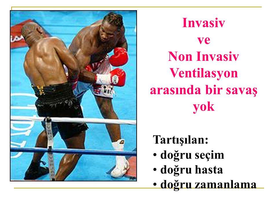 Invasiv ve Non Invasiv Ventilasyon arasında bir savaş yok Tartışılan: doğru seçim doğru hasta doğru zamanlama