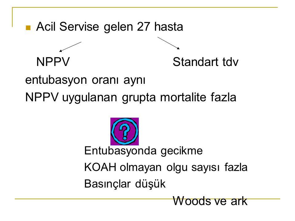 Acil Servise gelen 27 hasta NPPVStandart tdv entubasyon oranı aynı NPPV uygulanan grupta mortalite fazla Entubasyonda gecikme KOAH olmayan olgu sayısı fazla Basınçlar düşük Woods ve ark