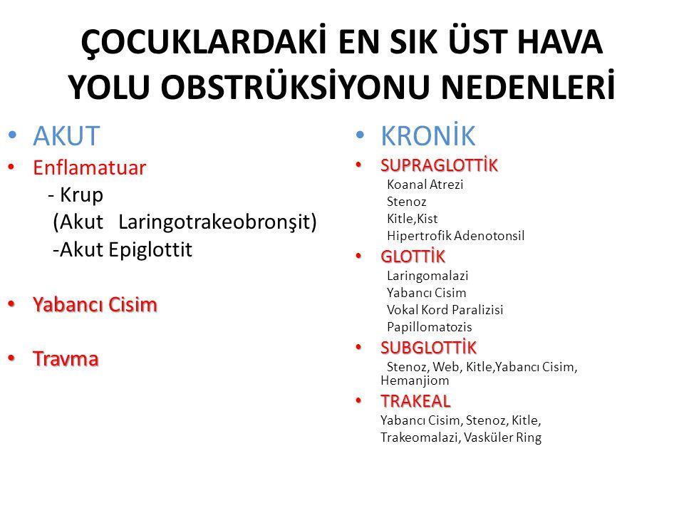 ÇOCUKLARDAKİ EN SIK ÜST HAVA YOLU OBSTRÜKSİYONU NEDENLERİ AKUT Enflamatuar - Krup (Akut Laringotrakeobronşit) -Akut Epiglottit Yabancı Cisim Yabancı C