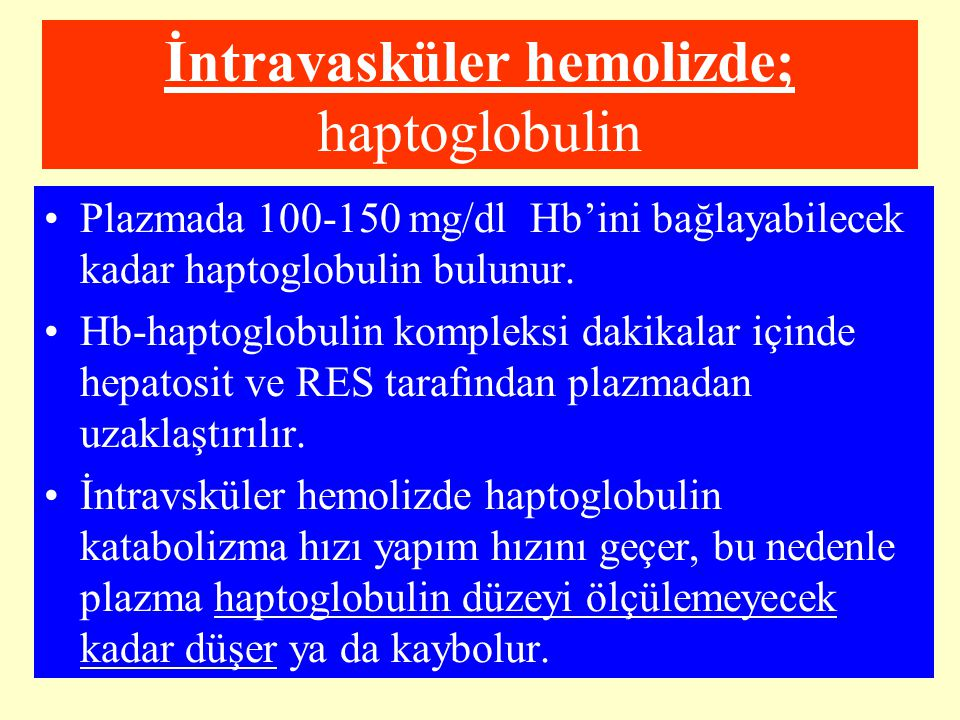 İntravasküler hemolizde; haptoglobulin Plazmada 100-150 mg/dl Hb'ini bağlayabilecek kadar haptoglobulin bulunur. Hb-haptoglobulin kompleksi dakikalar
