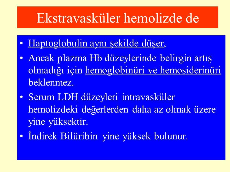 Ekstravasküler hemolizde de Haptoglobulin aynı şekilde düşer, Ancak plazma Hb düzeylerinde belirgin artış olmadığı için hemoglobinüri ve hemosiderinür