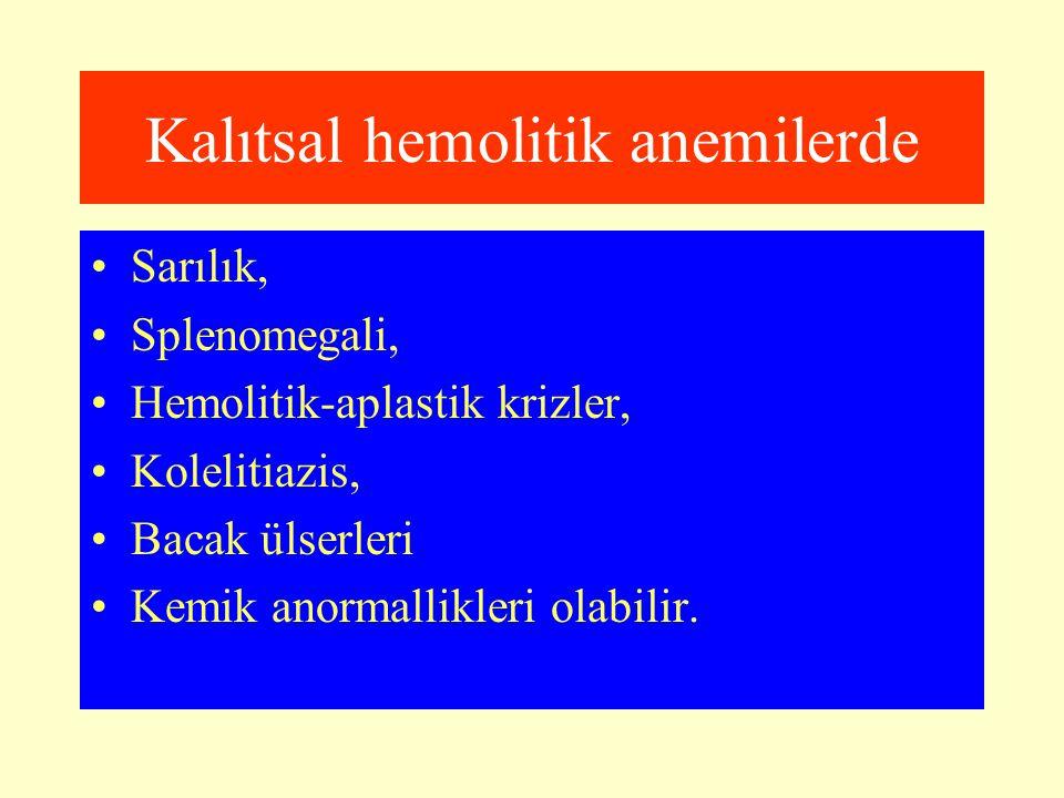 Kalıtsal hemolitik anemilerde Sarılık, Splenomegali, Hemolitik-aplastik krizler, Kolelitiazis, Bacak ülserleri Kemik anormallikleri olabilir.
