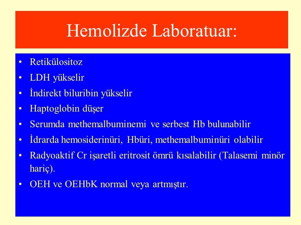 Hemolizde Laboratuar: Retikülositoz LDH yükselir İndirekt biluribin yükselir Haptoglobin düşer Serumda methemalbuminemi ve serbest Hb bulunabilir İdra